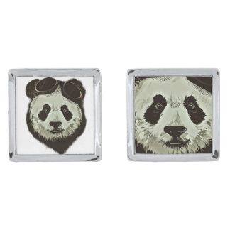 Panda Bear Silver Finish Cuff Links