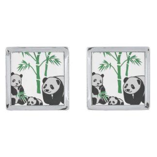 Panda Bear Silver Finish Cufflinks