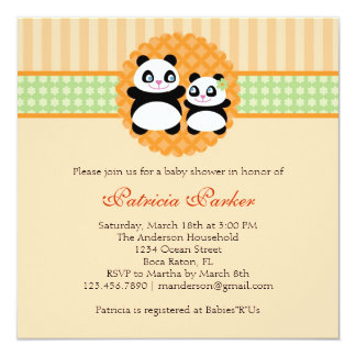 Panda Bear Unisex Baby Shower Invitation