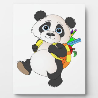 Panda Bear with backpack Plaque
