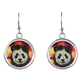 Panda Bear with Bokeh Art Earrings