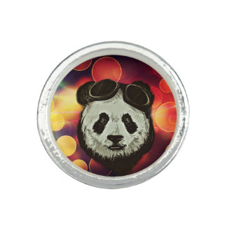 Panda Bear with Bokeh Art Ring
