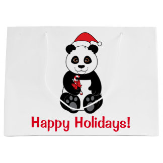 Panda Bear with Candy Canes Happy Holidays Large Gift Bag