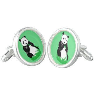 Panda Bears Green Round Cufflinks