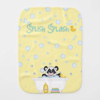 Panda Bubble Bath Time Nursery Yellow Baby Blue Burp Cloth