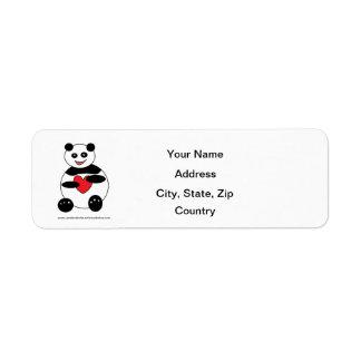 Panda in Love Customizable Address Label