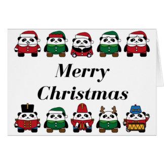 Panda Merry Christmas Greeting Card Envelopes Incl