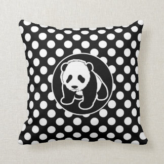 Panda on Black and White Polka Dots Throw Cushions
