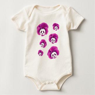 Panda Pansies Baby Bodysuit