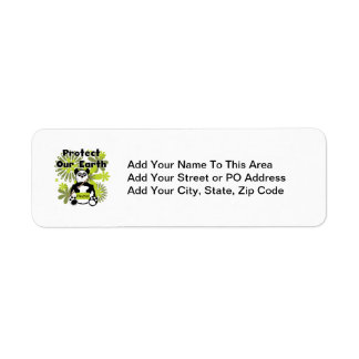Panda Protect Our Earth T-shirts and  Gifts Return Address Label