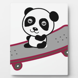 Panda riding on skateboard plaque