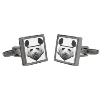 Panda trooper gunmetal finish cuff links