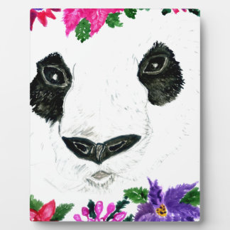 Panda with Flowers Plaque