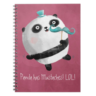 Panda with Mustaches Spiral Notebook