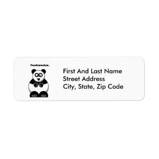 Pandamonium Panda Cartoon Return Address Label