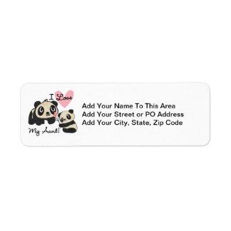 Pandas I Love My Aunt Return Address Label