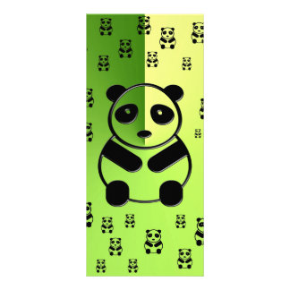 Pandas on green background personalised rack card
