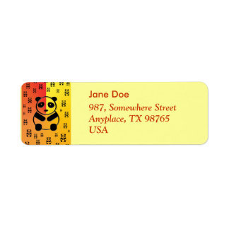 Pandas on yellow orange background return address label