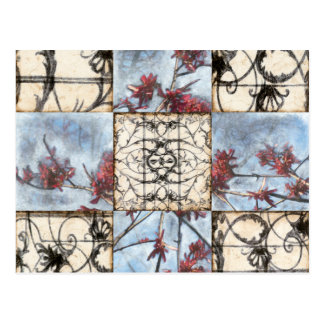 Paneled Abstract Scrollwork Painting Postcard