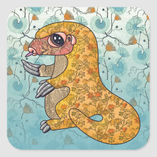 Pangolin in flowery fabrics square sticker