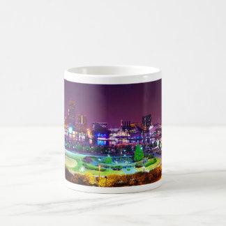 Panorama of Baltimore's Inner Harbor Night Skyline Coffee Mug