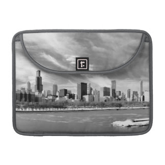 Panoramic view of Chicago skyline in winter Sleeve For MacBook Pro
