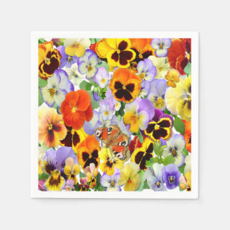 Pansies and Butterfly Paper Napkin
