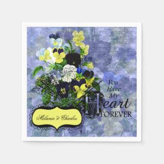 Pansies Heart Custom Wedding Paper Napkins