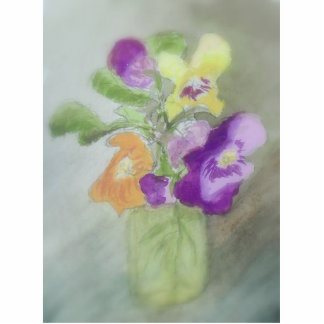 Pansies in a Vase Standing Photo Sculpture