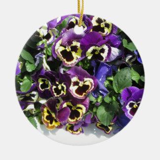 Pansies Multi Color Round Ceramic Decoration