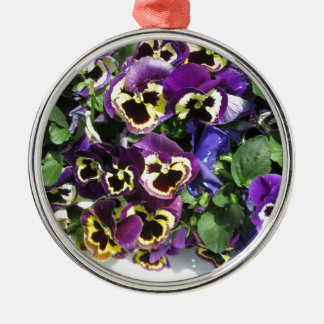Pansies Multi Color Silver-Colored Round Decoration