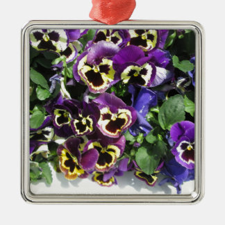 Pansies Multi Color Silver-Colored Square Decoration