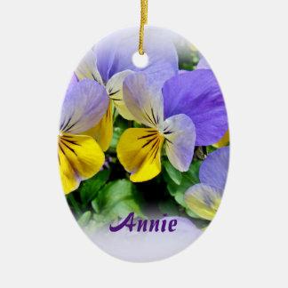 Pansies - Purple asnd Yellow Ceramic Oval Decoration