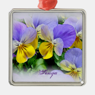 Pansies - Purple asnd Yellow Silver-Colored Square Decoration
