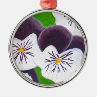 Pansies Silver-Colored Round Decoration
