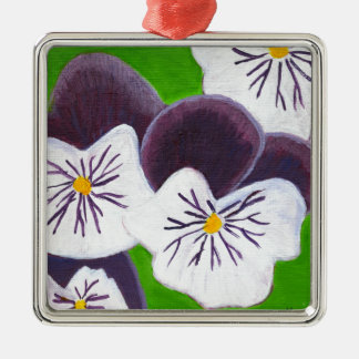 Pansies Silver-Colored Square Decoration