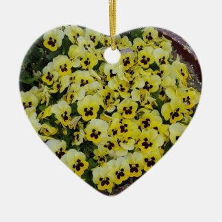 Pansies Yellow Black Ceramic Heart Decoration