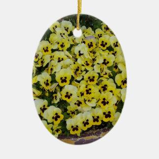 Pansies Yellow Black Ceramic Oval Decoration