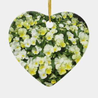 Pansies Yellow Bunch Ceramic Heart Decoration