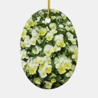 Pansies Yellow Bunch Ceramic Oval Decoration