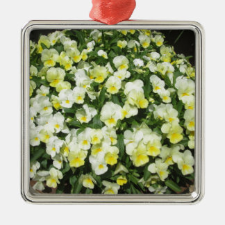 Pansies Yellow Bunch Silver-Colored Square Decoration