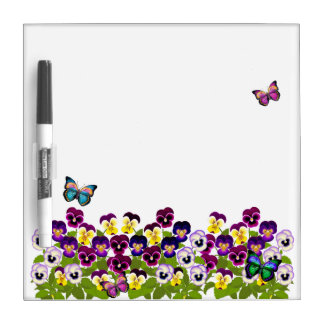 Pansy Butterfly Garden Dry Erase Board