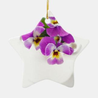 pansy ceramic star decoration