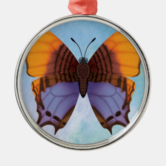 Pansy Daggerwing Butterfly Silver-Colored Round Decoration