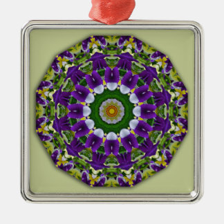 Pansy, Pansies Nature, Flower-Mandala Silver-Colored Square Decoration
