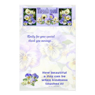Pansy Pastel ~ Thank You! ~ Stationary Stationery