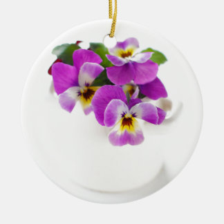 pansy round ceramic decoration