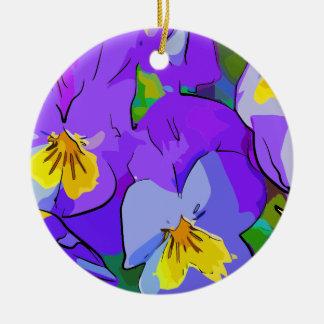 Pansyvioletand yellow round ceramic decoration