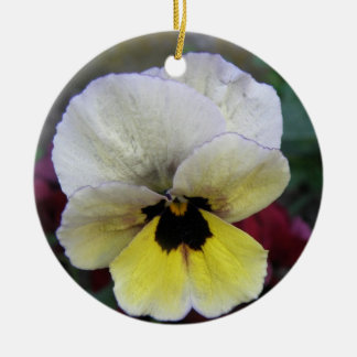 Pansy White and Yellow Custom Birthday Christmas Ornament
