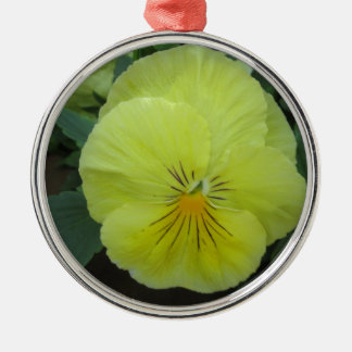 Pansy Yellow Silver-Colored Round Decoration